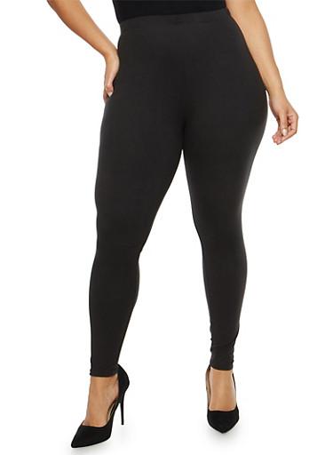 Plus Size Black Leggings,BLACK,large