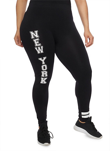 Plus Size New York Graphic Leggings with Striped Accent,BLACK,large
