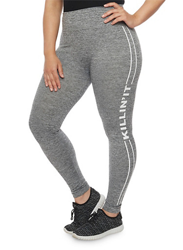 Plus Size Killin it Graphic Leggings,GRAY,large