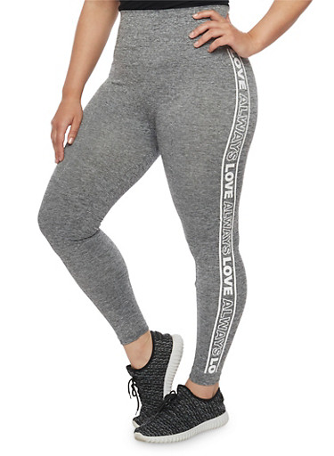 Plus Size Always Love Graphic Leggings,GRAY,large