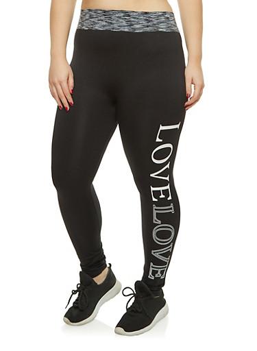 Plus Size Love Graphic Push Up Leggings,BLACK,large