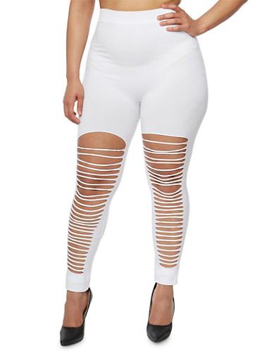 Plus Size Slashed Front Leggings,WHITE,large