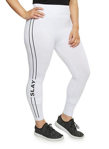 Plus Size Slay Graphic Leggings,WHITE,large