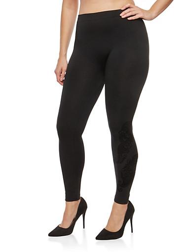 Plus Size Velvet Paisley Graphic Leggings,BLACK,large