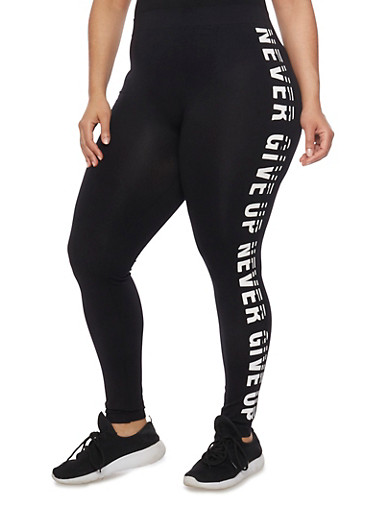 Plus Size Never Give Up Graphic Leggings,BLACK,large