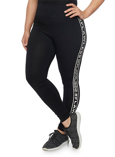 Plus Size Flawless Graphic Leggings,BLACK,large