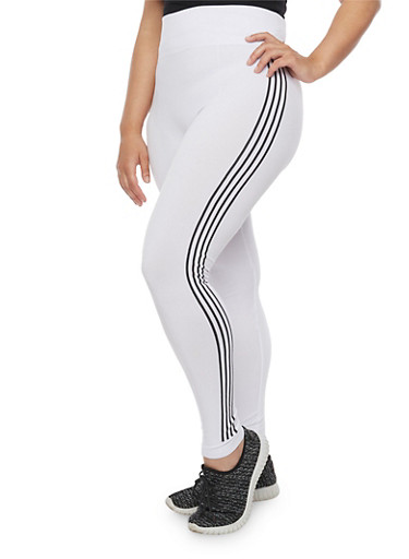 Plus Size Leggings with Side Stripes,WHITE,large