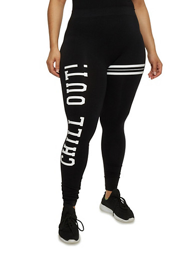 Plus Size Chill Out Graphic Leggings,BLACK,large