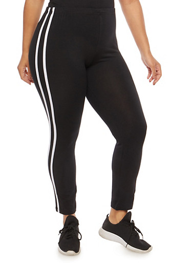 Plus Size Athletic Stripe Leggings,BLACK,large