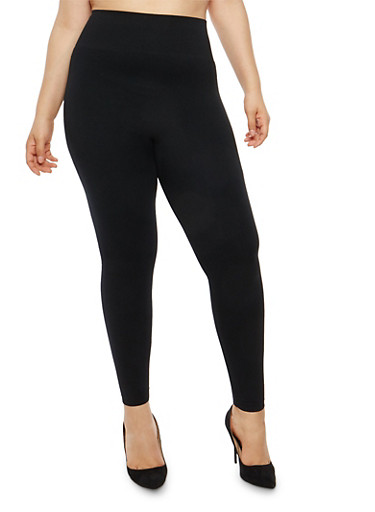 Plus Size French Terry Leggings,BLACK,large
