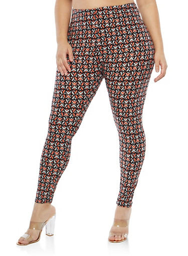Plus Size Soft Knit Printed Leggings,BLACK-RUST,large