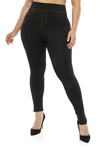 Plus Size Denim Knit Leggings,BLACK DEN,large
