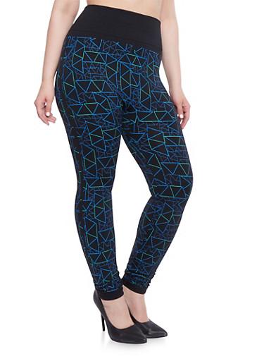 Plus Size Geometric Print Leggings,ROYAL-BLK,large
