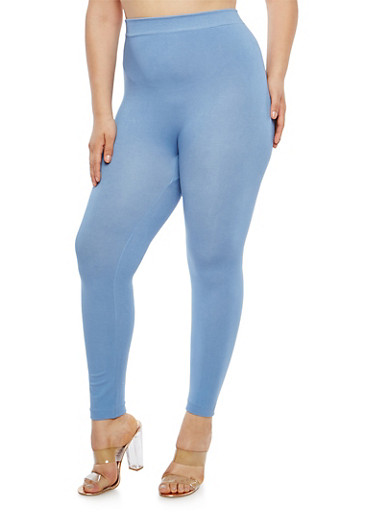 Plus Size Solid Leggings,BLUE,large