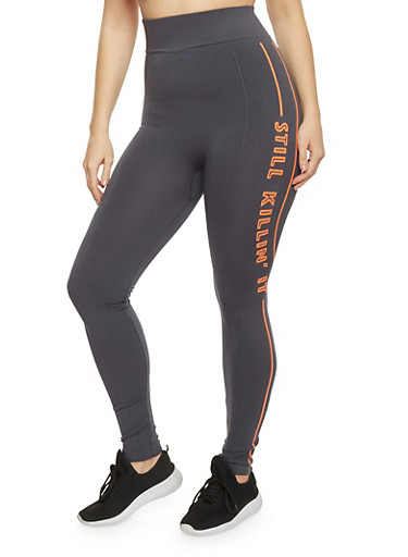 Plus Size Killin It Graphic Activewear Leggings,GRAY-ORANGE,large