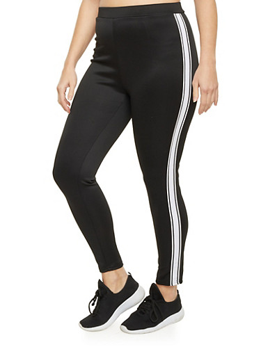 Plus Size Track Leggings with Striped Sides,BLACK,large