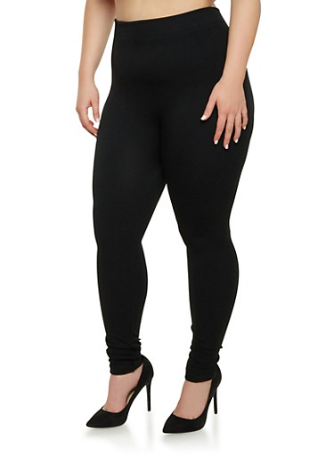 Plus Size Plush Lining Leggings,BLACK,large