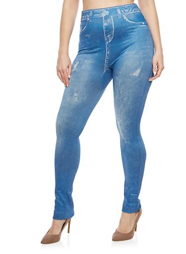 Plus Size Denim Print Leggings,DENIM,large