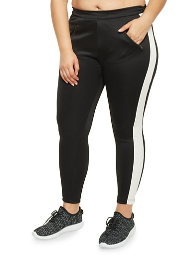 Plus Size Zipper Pockets Track Pants,BLACK,large