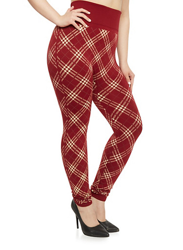Plus Size High Waisted Plaid Leggings,WINE-IVORY,large