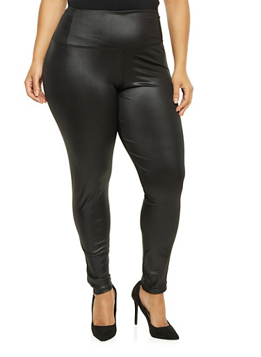 Plus Size Faux Leather Leggings,BLACK,large