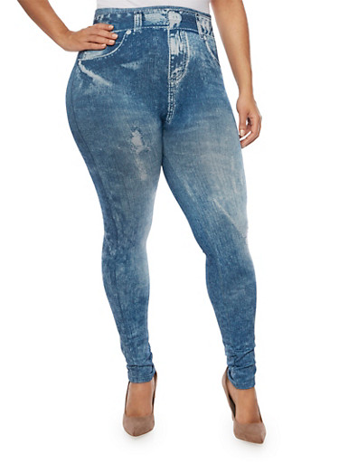 Plus Size Jeggings with Fleece Lining,BLUE,large