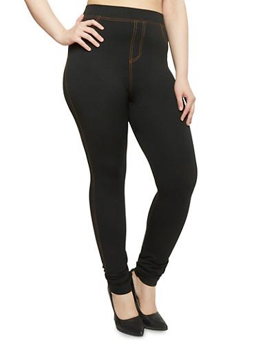 Plus Size Knit Denim Leggings,BLACK,large