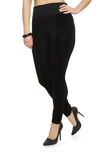 Plus Size High Waisted Velvet Crocodile Leggings,BLACK,large