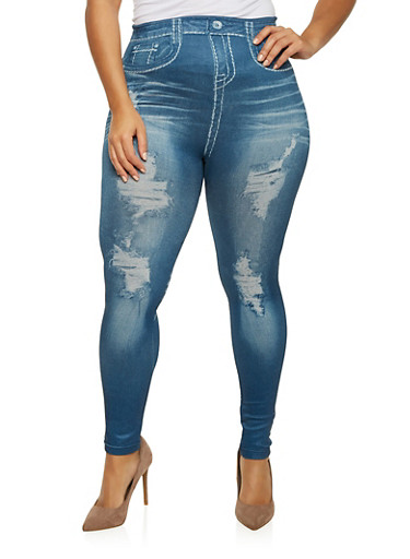 Plus Size Denim Print Jeggings,DARK WASH,large