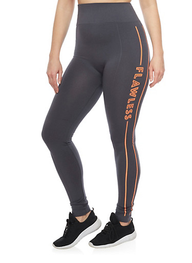 Plus Size Activewear Leggings with Flawless Graphic,GRAY-ORANGE,large