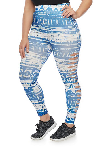 Plus Size Slashed Tie Dye Leggings,BLUE,large