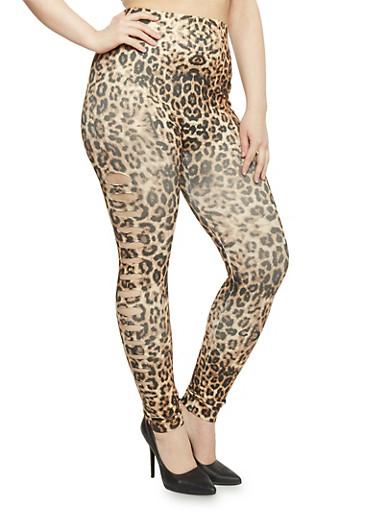Plus Size Side Slashed Leopard Print Leggings,BROWN PRT,large