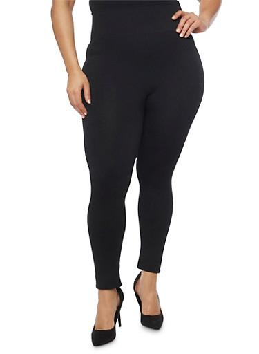 Plus Size Leggings with Waffle Knit Waist,BLACK,large