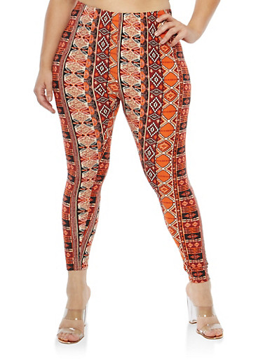 Plus Size Soft Knit Aztec Print Leggings,BLACK-MUSTARD,large