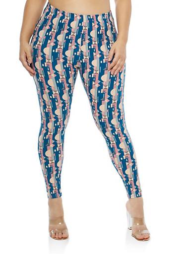 Plus Size Soft Knit Printed Leggings,NAVY-BEACH,large