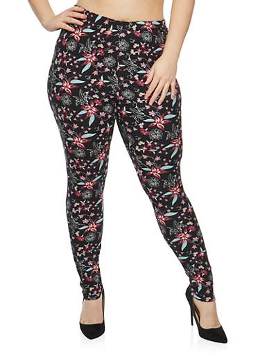 Plus Size Soft Knit Floral Print Leggings,BLACK-BURGUNDY,large