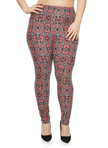 Plus Size Soft Knit Butterfly Printed Leggings,MAUVE-GREY,large