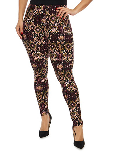 Plus Size Soft Knit Printed Leggings,BLACK -MAUVE,large