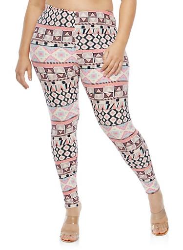 Plus Size Soft Knit Border Print Leggings,MAUVE-BLK,large