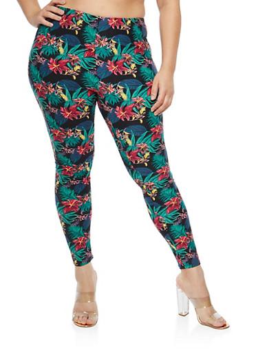 Plus Size Soft Knit Tropical Floral Leggings,BLACK-GREEN,large