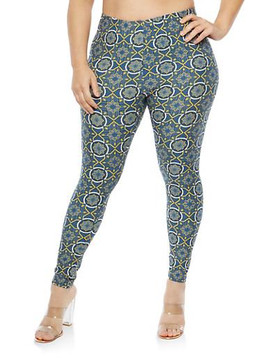 Plus Size Soft Knit Printed Leggings,BLUE-GOLD,large