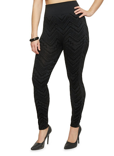 Plus Size High Waisted Velvet Chevron Leggings,BLACK,large