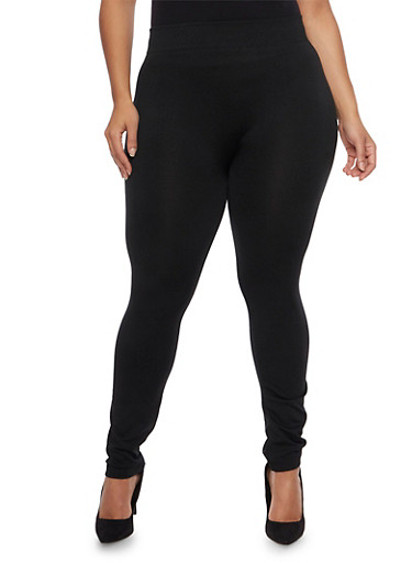 Plus Size Leggings with Fleece Lining,BLACK,large