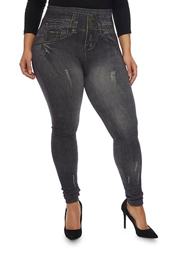 Plus Size Leggings in Distressed Denim Print,BLACK,large