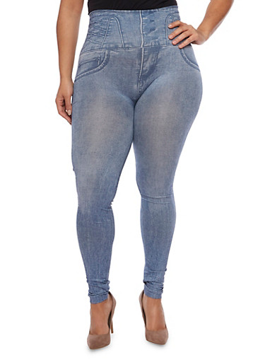 Plus Size High Waisted Leggings with Denim Print,BLUE,large