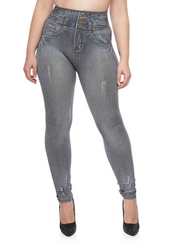 Plus Size HighWaisted Denim Print  Leggings,BLACK,large
