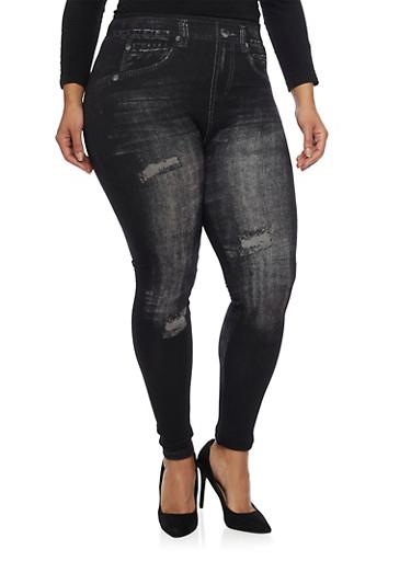 Plus Size Leggings in Ripped Denim Print,BLACK,large