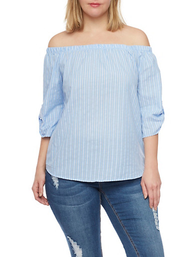 Online Exclusive - Plus Size Off the Shoulder Striped Chambray Top,LIGHT WASH,large