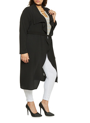 Online Exclusive - Plus Size Long Sleeve Belted Duster,BLACK,large