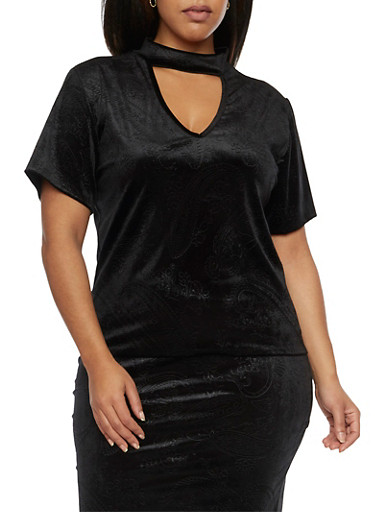 Plus Size Velvet Choker Top with Embossed Paisley Print,BLACK,large
